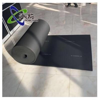 带铝箔橡塑海绵板 耐火通风管道橡塑板 阻燃自粘b1级黑色橡塑板