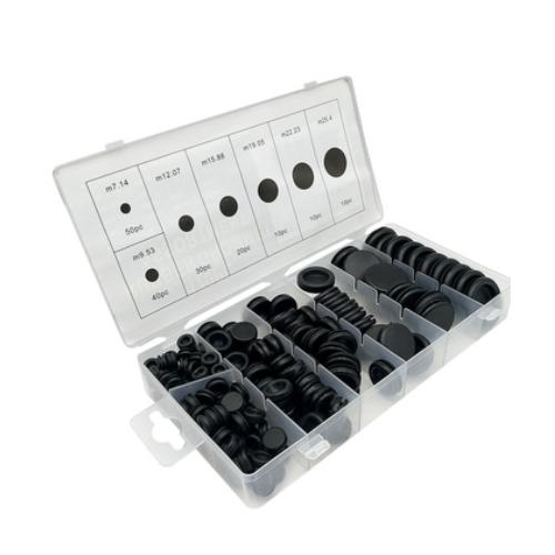跨境 170PCS盒装单面橡胶护线圈 出线环 过线圈 密封圈组套